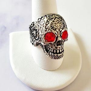 2/$20🌼 Skull Biker Punk Silvertone Ring NWOT